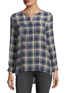 Joie Nepal Plaid Silk Blouse