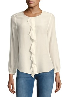 Joie Nevara Silk Ruffle-Trim Blouse