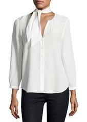 Joie Nile Tie-Neck Silk Shirt
