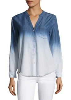 Joie Normana Ombre Frayed Silk Denim Shirt