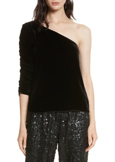 Joie One-Shoulder Velvet Top