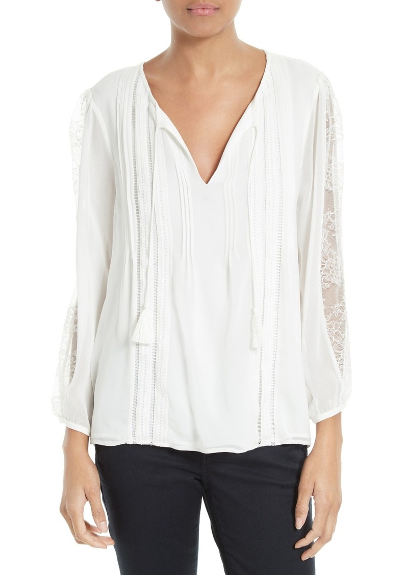 Joie Opala Lace Inset Silk Peasant Blouse