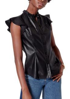 Joie Orien Faux Leather Blouse