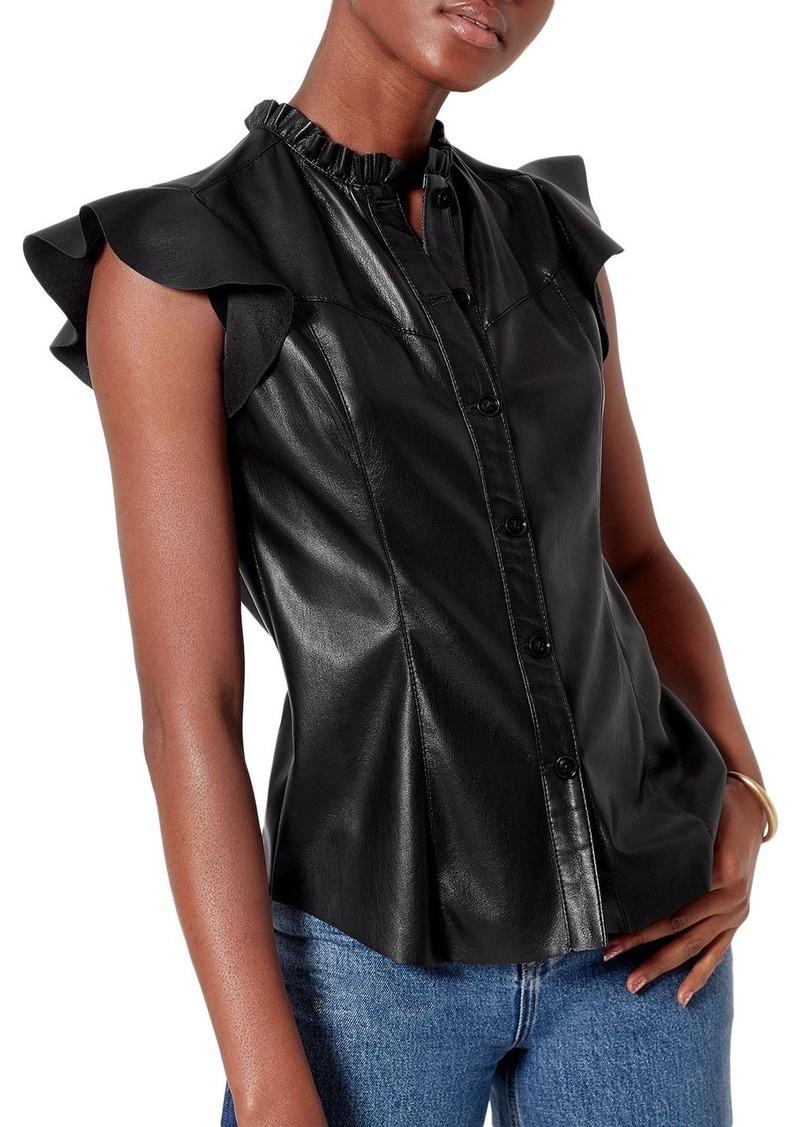 Joie Orien Ruffled Faux Leather Top