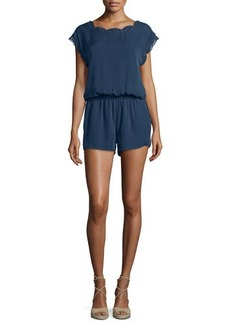 Joie Paolla Floral-Lace Trimmed Romper