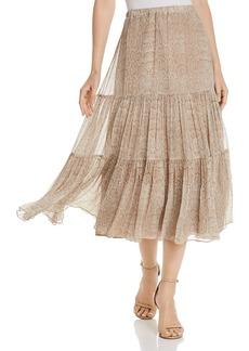 Joie Pealle Silk Tiered Snakeskin-Print Midi Skirt