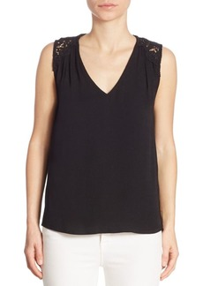 Joie Pearl Crepe & Lace Tank Top