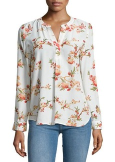 Joie Pearline Floral-Print Silk Blouse