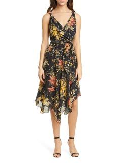 Joie Pharrah Floral Metallic Stripe Handkerchief Hem Silk Dress