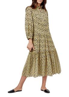 Joie Pismo Abstract Animal Print Long Sleeve Midi Dress