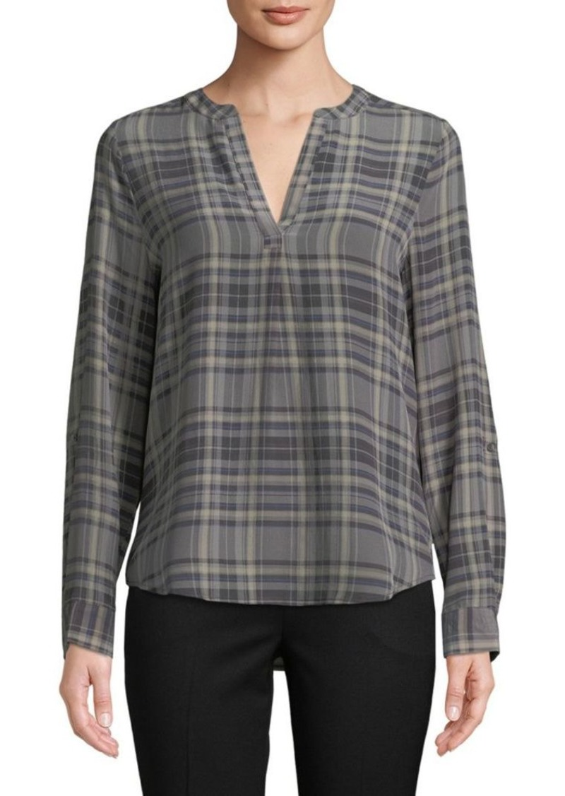 Joie Plaid Silk Blouse