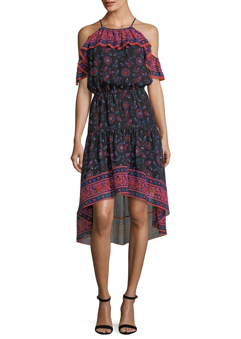 Joie Poi Sleeveless Floral-Print High-Low Silk Midi Dress