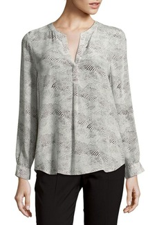 Joie Printed Raw Silk Blouse