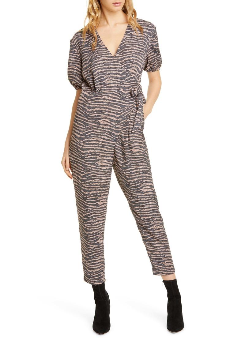 Joie Prisha Zebra Print Puff Sleeve Jumpsuit