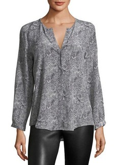 Joie Purine Animal-Print Silk Blouse