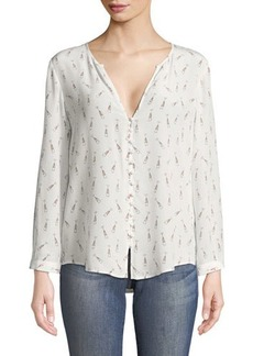 Joie Purine Champagne-Print Silk Blouse
