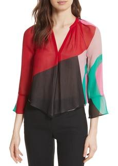 Joie Quinlynn Colorblock Silk Top