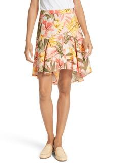 Joie Radhiya Linen Floral Ruffle Skirt