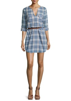 Joie Rathana C Plaid Belted Shirtdress