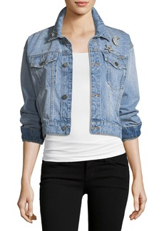 Joie Redmondia Cropped Denim Jacket w/ Jeweled Pins