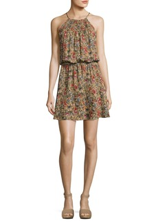 Joie Reinelde Sleeveless Floral-Print Silk Dress
