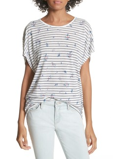 Joie Riker Floral Stripe Linen Blend Top