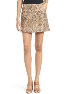 Joie Rodgers Leopard Print Suede Miniskirt