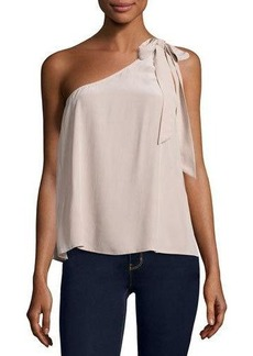Joie Romana One-Shoulder Silk Blouse