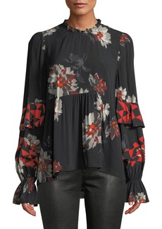 Joie Ronette Floral-Print Ruffle Long-Sleeve Top