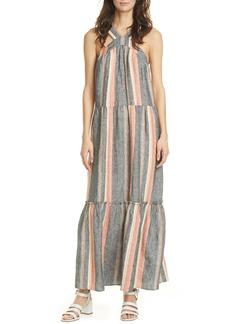 Joie Rosabel Stripe Tiered Linen Maxi Sundress