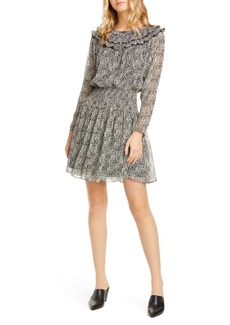 Joie Ruffle Long Sleeve Silk Dress