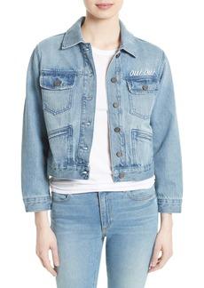 Joie Runa Embroidered Denim Jacket
