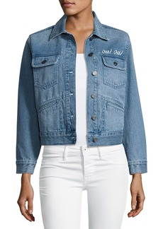 Joie Runa Embroidered Denim Jacket