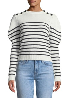Joie Ruthine Button-Shoulder Stripe Sweater