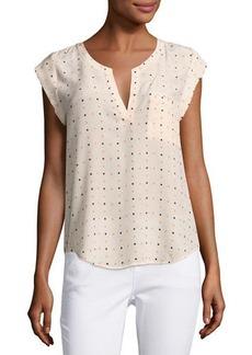 Joie Ryanna Cap-Sleeve Printed Silk Top
