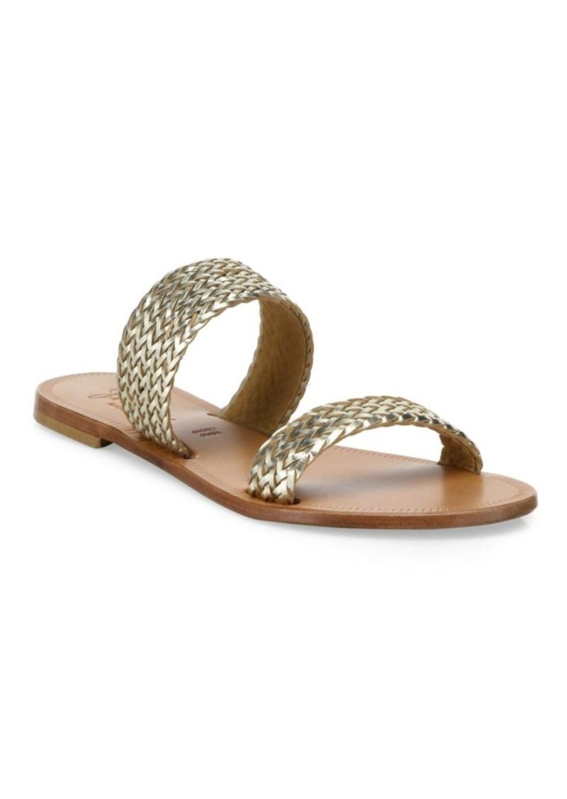 Joie Sable Woven Metallic Leather Slides
