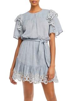 Joie Safia Cotton Eyelet Trim Mini Dress