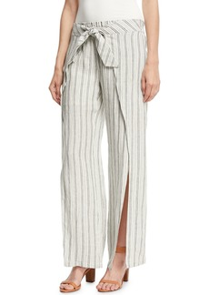 Joie Sahira Striped Linen Wide-Leg Pants