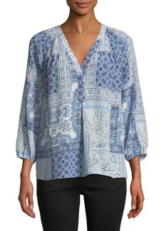 Joie Sanoma 3/4-Sleeve Printed Silk Blouse