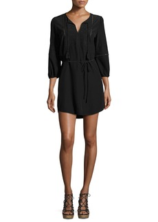 Joie Saxona Split-Neck Silk Mini Dress