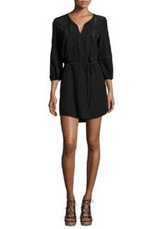 Joie Saxona Split-Neck Silk Mini Dress