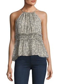 Shawnette Printed Halter Silk Top