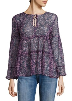 Shawni Floral Silk Long-Sleeve Blouse