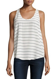Joie Sleeveless Striped Crepe Blouse