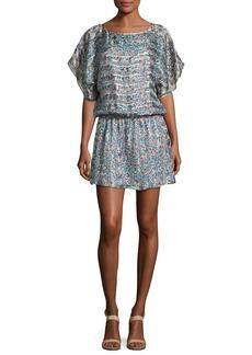 Joie Sofinne Floral-Print Blouson Silk Minidress