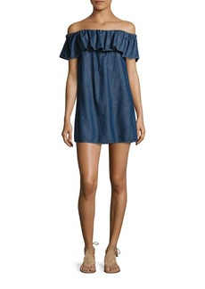 Joie Soft Joie Nilima Off-The-Shoulder Chambray Dress