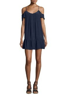 Joie Stellara Cold-Shoulder Flounce Silk Mini Dress