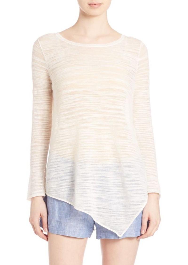 Joie Tambrel Linen-Blend Long Sleeve Top
