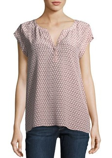 Joie Tashi Geometric-Print Silk Top