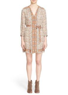 Joie 'Teedra' Belted Mix Print Silk Shirtdress